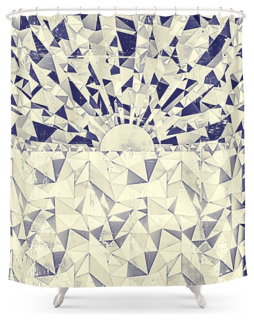 Society6 origami sea sunset shower curtain contemporary for Origami curtain