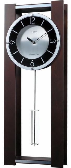 Modern pendulum wall clock rich espresso plays 18 melodies wall clocks by hilton furnitures - Contemporary pendulum wall clocks ...