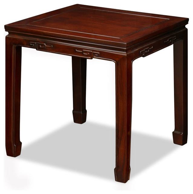 Chinese Drum Coffee Table: Rosewood Chinese Key Design