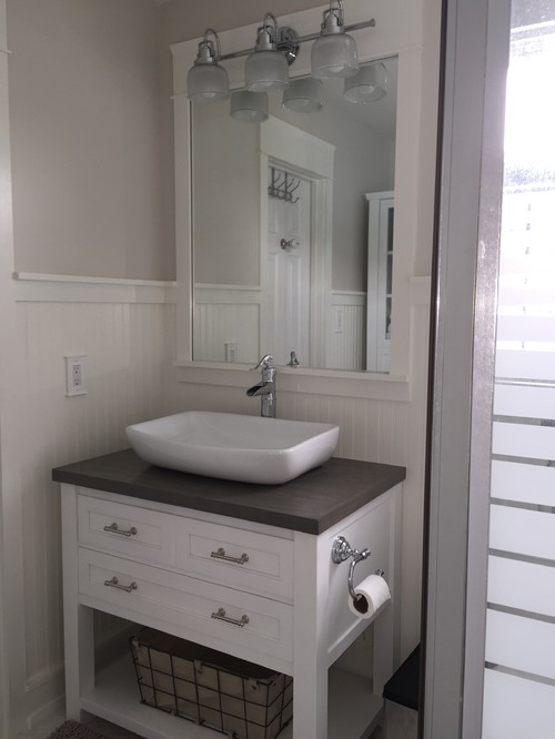 small cottage bathrooms.  New very tiny coastal cottage bathroom on a small DIY budget