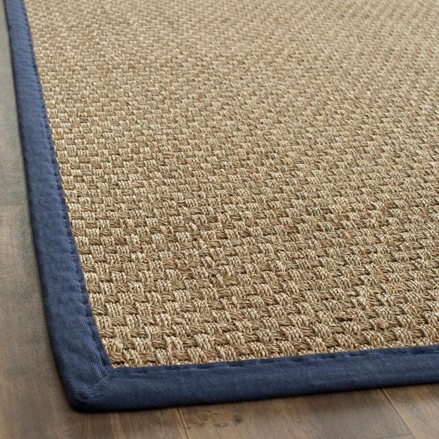 handwoven sisal natural blue seagrass rug 8u0027 x 10u0027 - Seagrass Rug