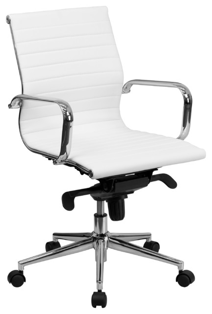 flash furniture mid back office chair black leather. mid-back ribbed upholstered leather chair, white contemporary-office-chairs flash furniture mid back office chair black