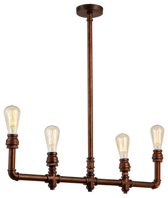 Industrial Lighting Rustic Chandelier Iron Pipe Ceiling: Rustic Vintage Brass Pipe Chandelier Pendant