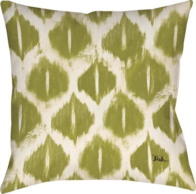 Sage Green White Ikat Print Indoor/Outdoor Decorative Throw Pillows, Set Of  2 Outdoor