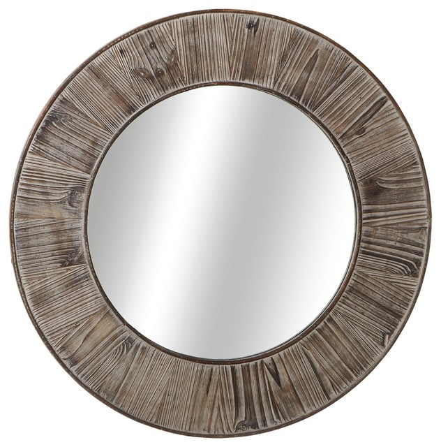 Round Wall Mirror, Distressed Gray.