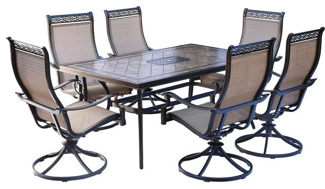 Awe Inspiring Monaco 7 Piece Dining Set 6 Swivel Rockers 68 X 40 Table Andrewgaddart Wooden Chair Designs For Living Room Andrewgaddartcom