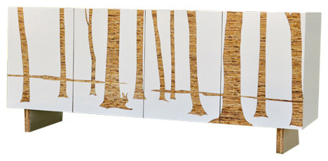 Trees Graphic Modern Wood Cabinet, Kerei Wood And White, By  Iannone.