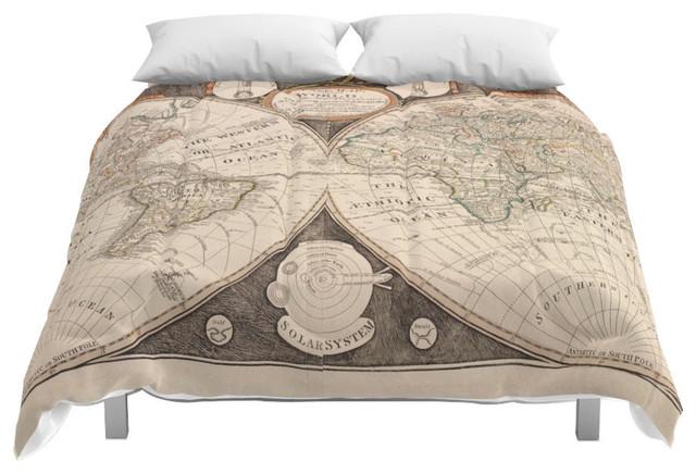 Society6 World Map Comforter, King, 104x88