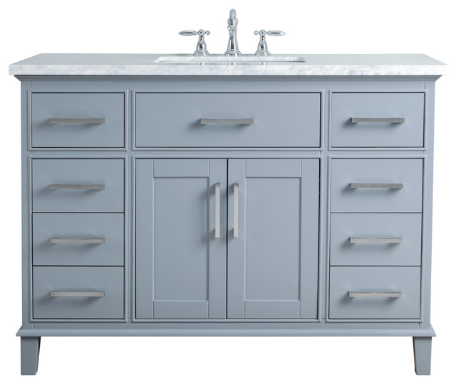 "Leigh 48"" Gray Single Sink Bathroom Vanity."
