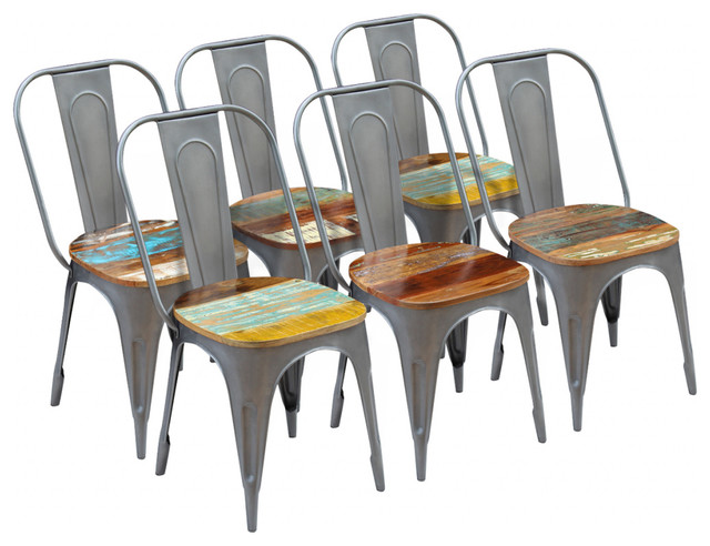 vidaXL Solid Reclaimed Wood Dining Chairs, 47x52x89 cm, Set of 6