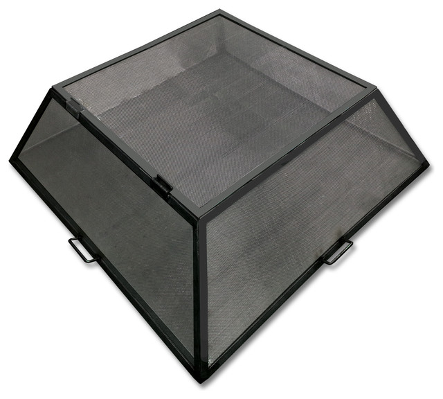 """Master Flame 32"""" x 32"""" Fire Pit Screen, Hinged Access, Carbon Steel"""