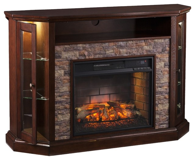 Reamrock Infrared Electric Fireplace Media Stand with Convertible Corner    Ignite the heart with this infrared electric fireplace media stand. Lifelike