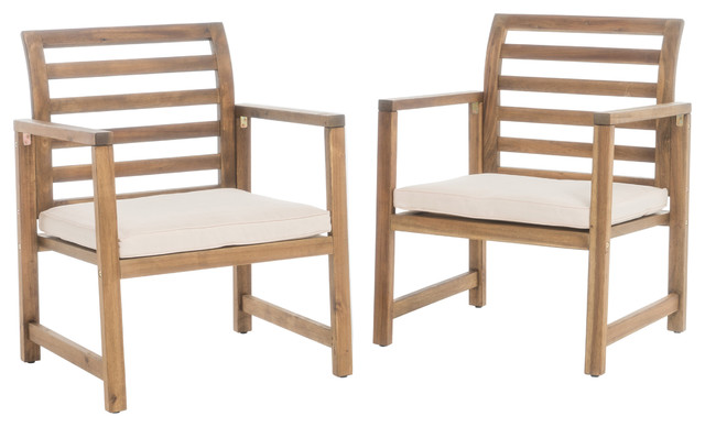 Eveleigh Coastal Outdoor Natural Stained Acacia Wood Club Chairs, Set Of 2.