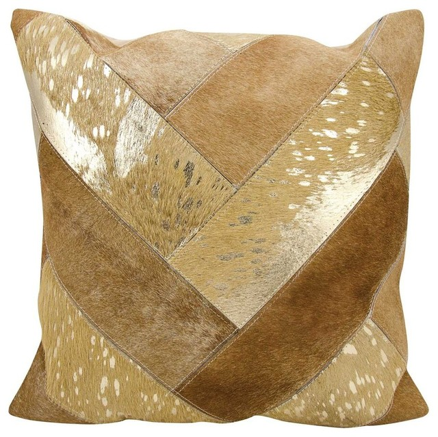 "Nourison Jersey Design Beige And Gold Pillow 20"" X 20""."