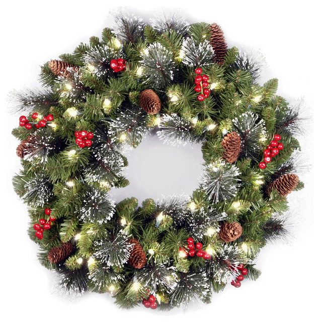 """24"""" Crestwood Spruce Wreath With Battery Operated Warm White LED Lights"""