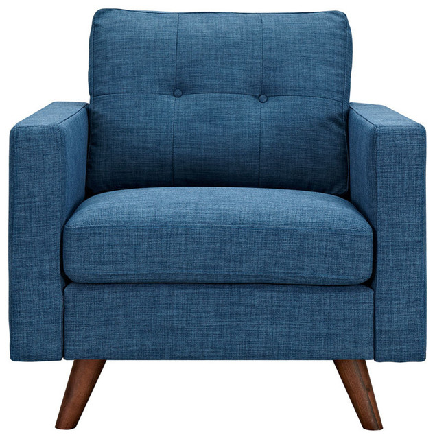 Stone Blue Uma Armchair, Dark Walnut Leg Finish Scandinavian Armchairs  And Accent