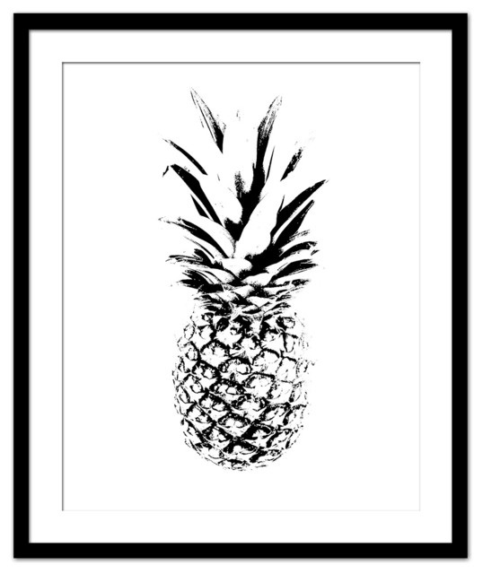 Pineapple Print, Black and White, Large
