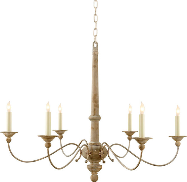 Studio Country 6 Light Chandeliers in Belgian White Transitional – Wood Iron Chandelier