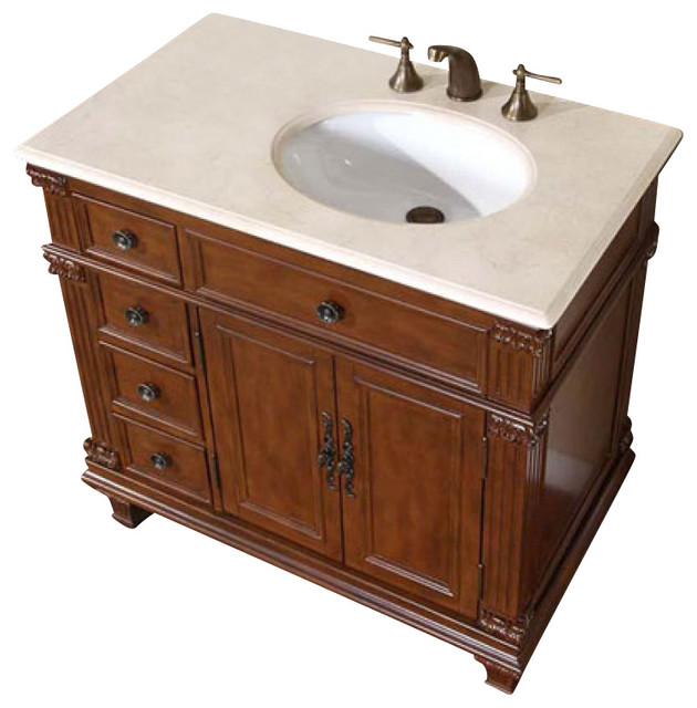 Silkroad exclusive 36 inch traditional single sink bathroom vanity bathroom vanities and sink for Single sink consoles bathroom