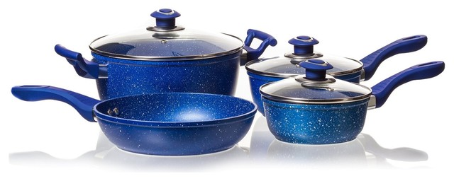 Blue Marble Coated Cookware Sets Glass Lids Nonstick