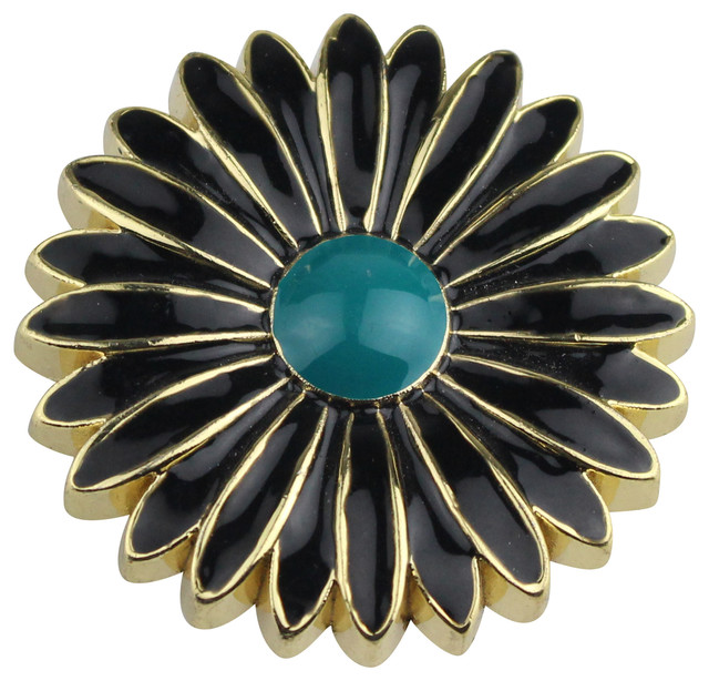 Aster Cabinet and Furniture Knob, Black With Teal contemporary-cabinet ...