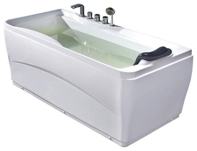 "Eago White Drain Acrylic 63"" Soaking Tub With Fixtures, Left."