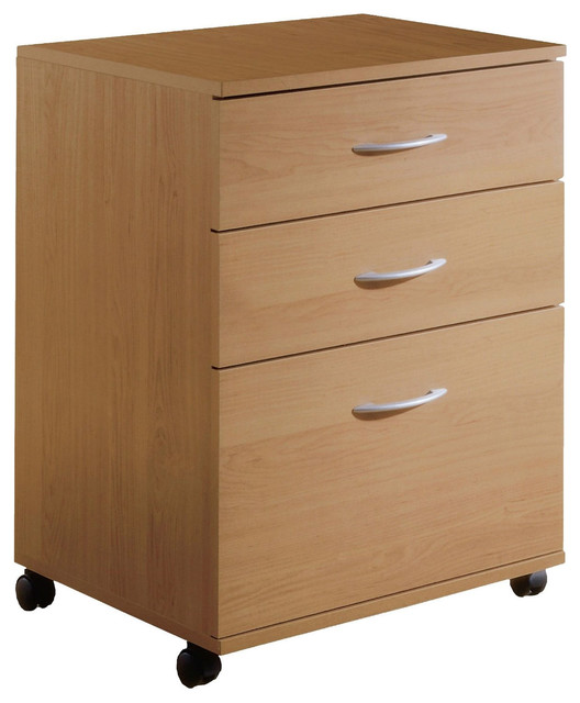 Contemporary 3-Drawer Mobile Filing Cabinet, Natural Maple Finish.