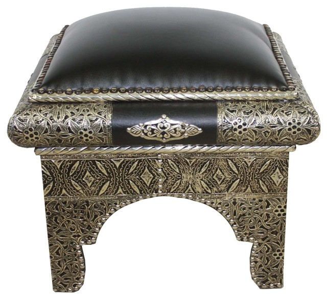 Square Moroccan Metal And Black Leather Ottoman