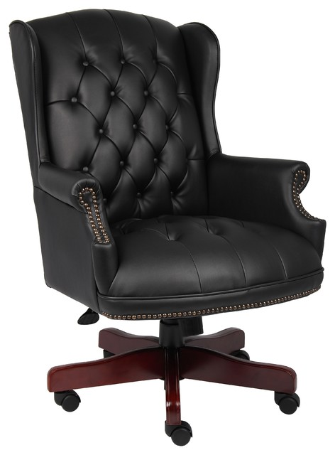 Boss Wingback Traditional Chair, Black.