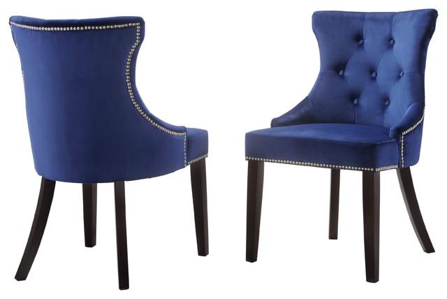 Megan Royal Blue Velvet Tufted Chair With Nailhead Trim, Set Of 2.