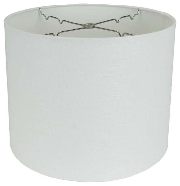 White Texture Linen Retro Drum White Lamp Shades By