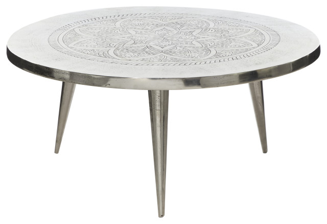 Round Silver Aluminum Coffee Table With, Round Silver Table
