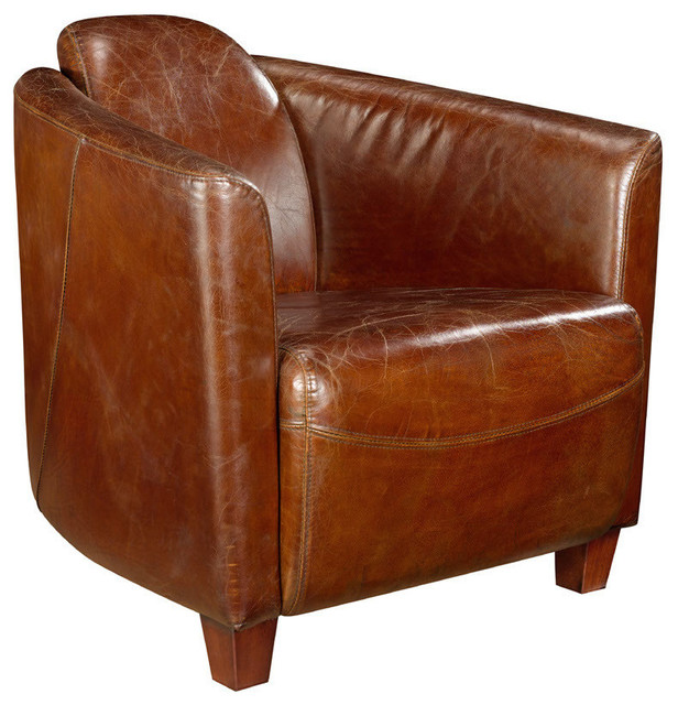 Moe&x27;s Salzburg Leather Club Chair In Brown.
