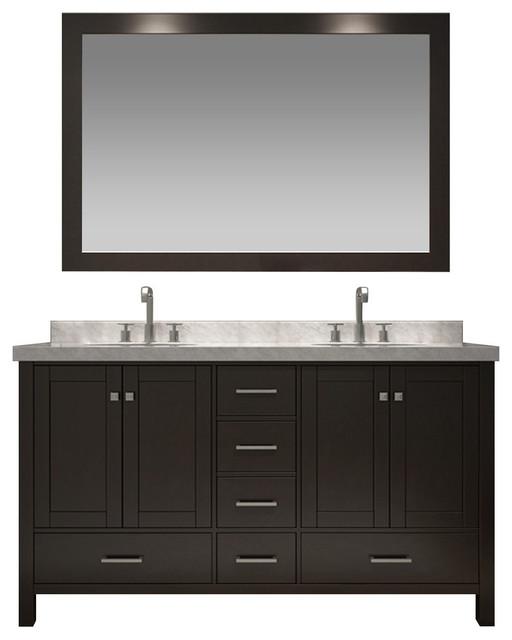 Ariel Cambridge 61 Double Sink Vanity Set, Espresso.