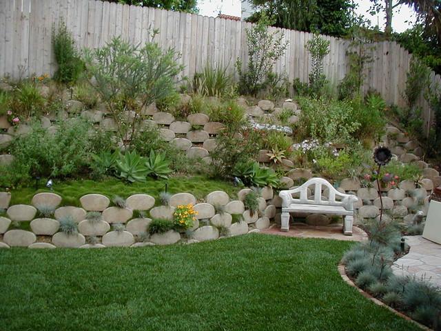 Kid Friendly Waterwise Backyard Slope Traditional Garden