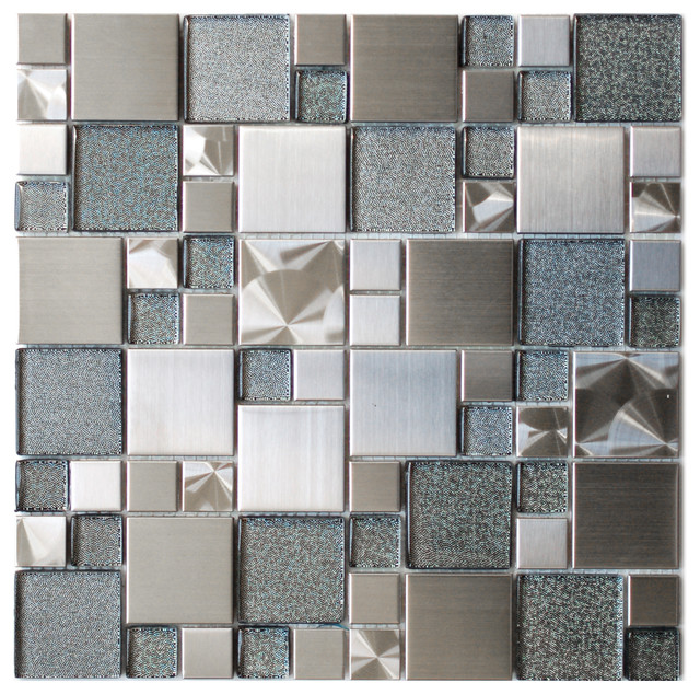 Modern Cobble Stainless Steel With Silver Glass Tile 11 8 X11 8