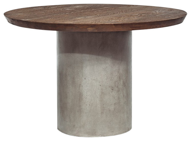 Modrest Renzo Modern Round Oak and Concrete Dining Table