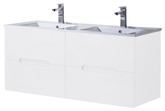 Wall Mount Bathroom Vanity Elton 48 Double Sink With Porcelain Top, Matte White.