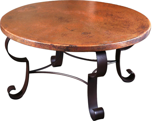 Copper Top Round Coffee Table With Metal Base