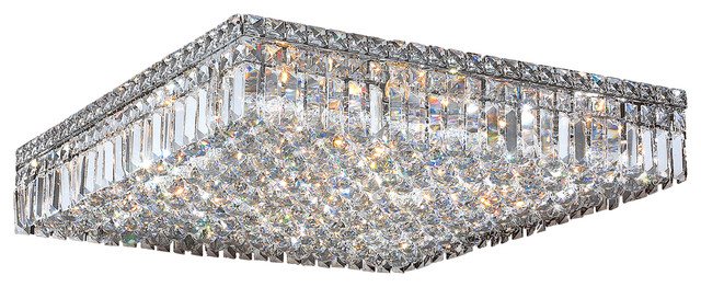 Cascade 13 light chrome finish clear crystal 24 square flush mount cascade 13 light chrome finish clear crystal 24 square flush mount ceiling ligh aloadofball Gallery