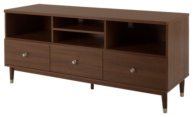 South Shore Olly Tv Stand With Drawers, Brown Walnut.