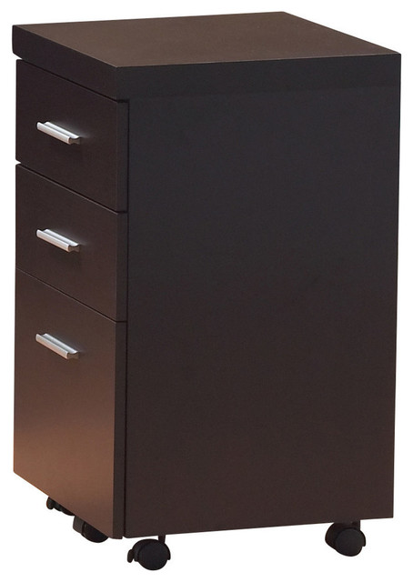 Filing Cabinet, 3 Drawer, Cappuccino On Castors.
