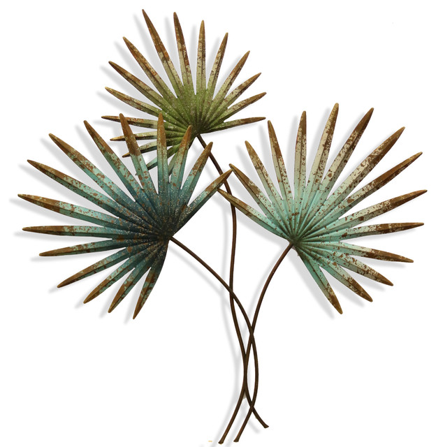 Weathered Painted Palm Leaves, Metal Wall Sculpture.