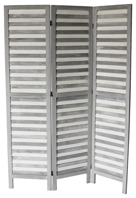 Max 3 Panel Room Divider Gray Beach Style Screens And