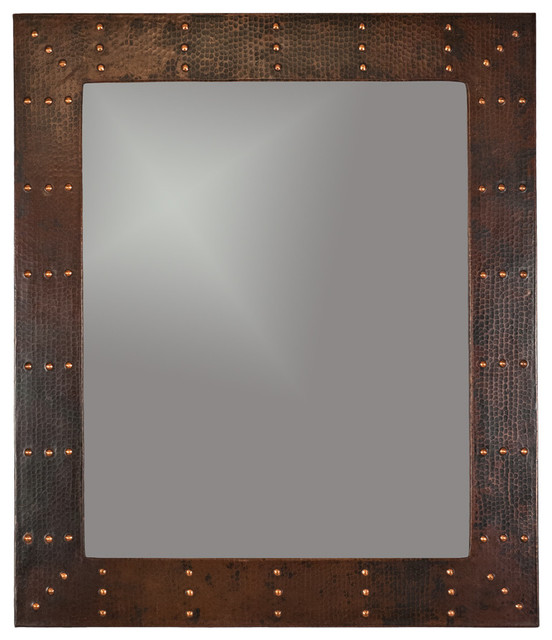 "Barrington Copper Wall Mirror, Hand-Forged Rivets, 31""x36""."