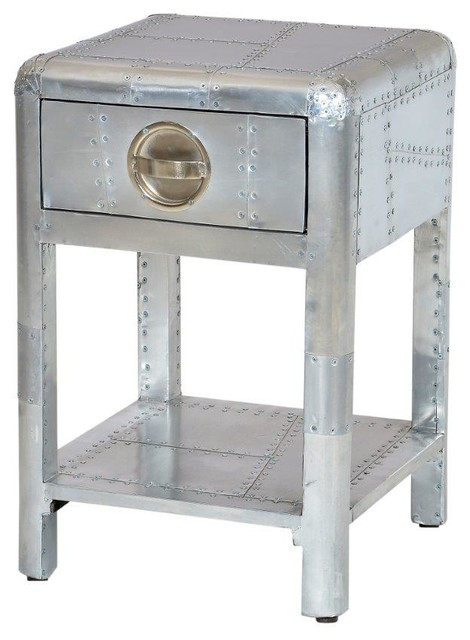 Aviator Aluminum Side Table With 1 Drawer Industrial Side Tables And End