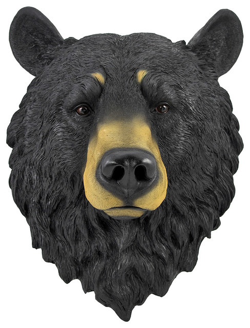 Black Bear Head Mount Wall Statue Bust.