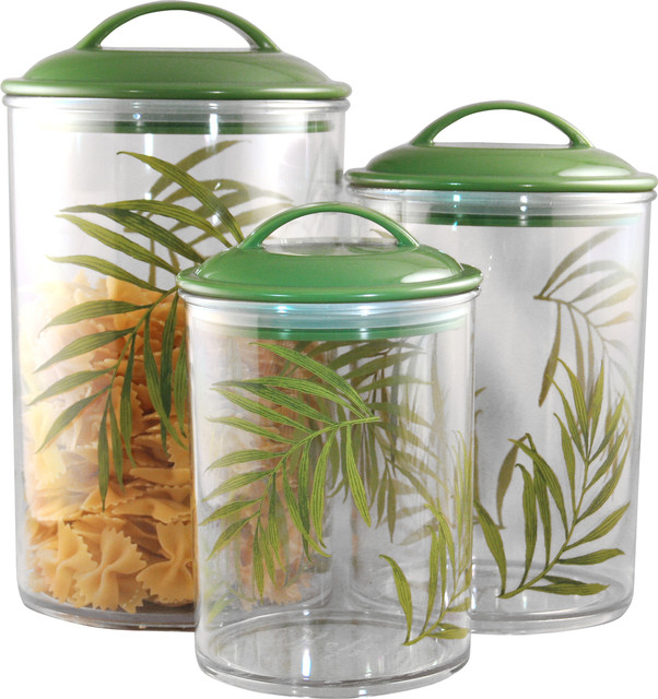 Acrylic Food Storage Containers Part - 23: Corelle Coordinates Acrylic Canister Bamboo Leaf Set Of 3 Contemporary-food- Storage-containers