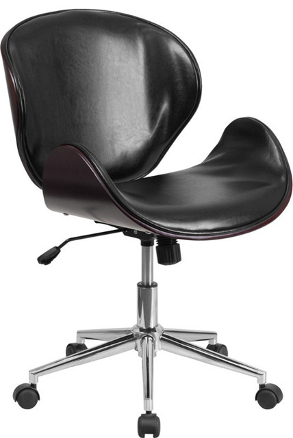 Contemporary Office Chair jefferson mid-back swivel chair, wood and leather - contemporary