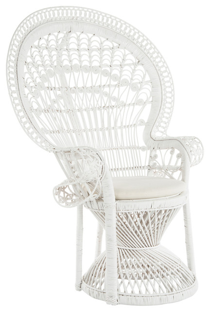 Grand Peacock Chair In Rattan With Seat Cushion Tropical